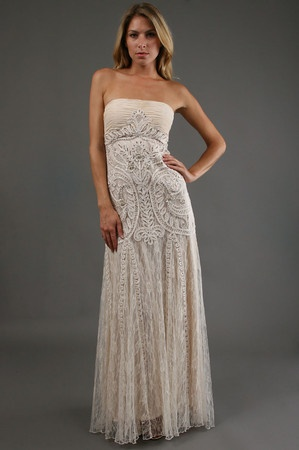 Sue Wong dress in Antique Champagne. Different but I like it