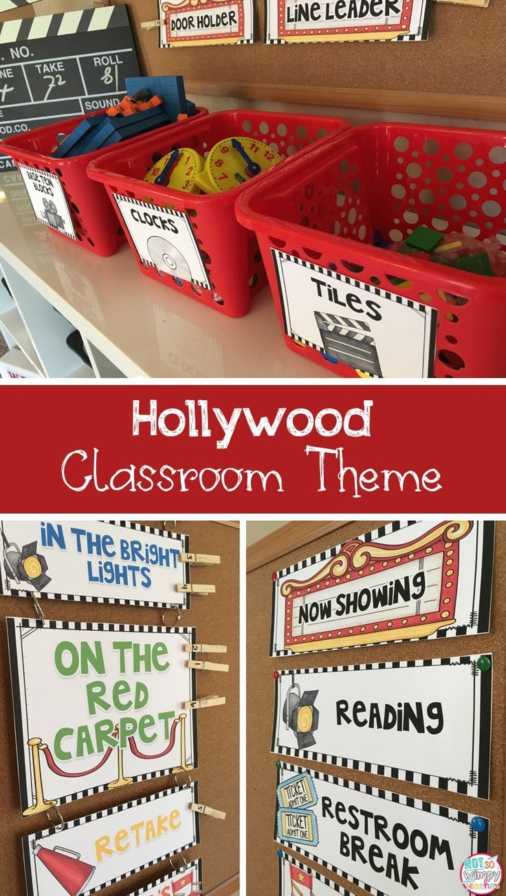 Hollywood classroom theme editable decor and organization