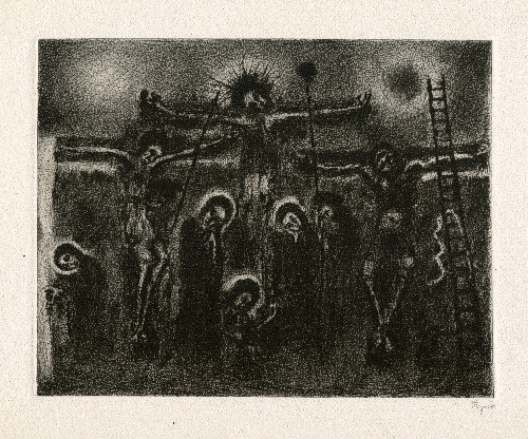 Bohuslav Reynek Velké ukřižování / Big Crucifixion suchá jehla / dry point 21,5 x 27,4 cm, 1948, opus G 234