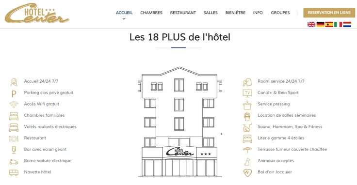 Création du nouveau site internet de l'hôtel Center #Brest http://www.air-media29.com/internet-brest/creation-web.html