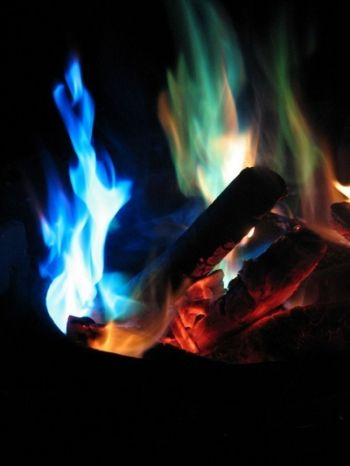 How To Make Your Own Camp Fire Color Changers: http://chemistry.about.com/od/funfireprojects/a/colored-..fire-pinecones.htm