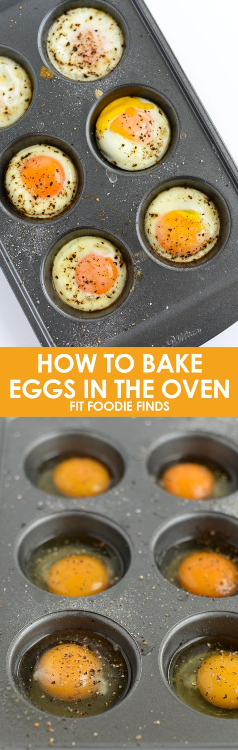 How to bake eggs in an oven. So easy and you can make multiple at a time! All you need is a muffin tin and some eggs. Grease the tin with non stick cooking spray and set oven to 350F. Then just crack the egg in and cook for around 17 minutes. Add salt and pepper if you desire.
