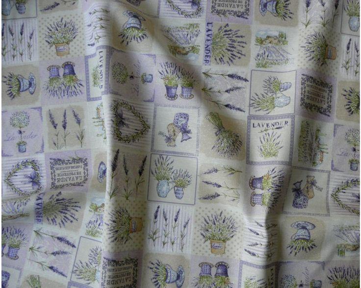 lakástextil, bútorvászon, levendula mintával| Textilpont Lakástextil Webáruház