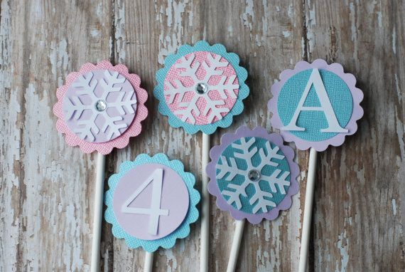 Frozen Inspired Cupcake Toppers, Frozen party, Snowflake Cupcake  Toppers, Winter Onederland Party on Etsy, $15.00