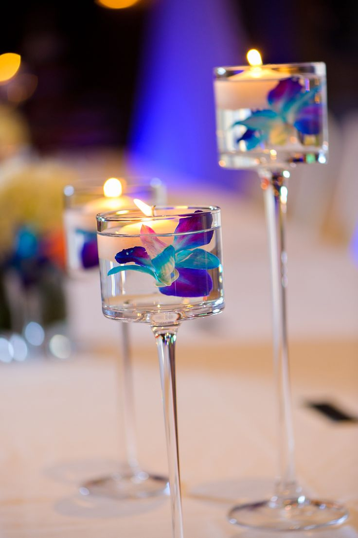 Turquoise And Blue Orchid Wedding Centerpiece Unico Decor Pinterest Cocktails Blue