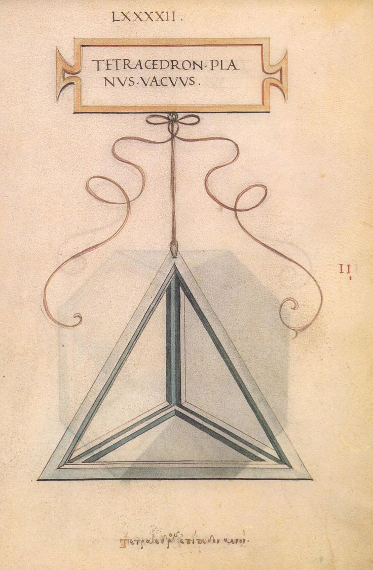 "Illustrations of various geometric figures by Leonardo da Vinci for Luca Pacioli's ""De Divina Poroportione"" - the only thing da Vinci had a hand in that was published during his life time."