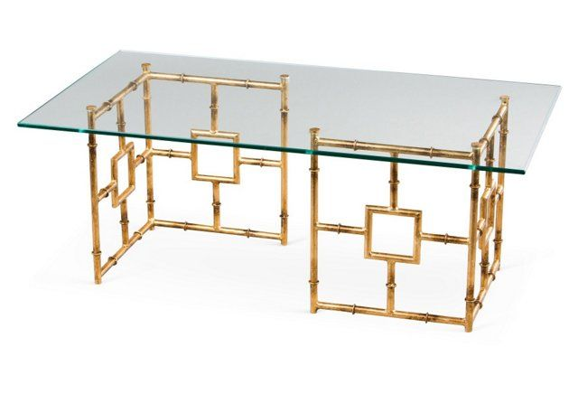 Bamboo Float Glass Coffee Table, Gold - Expertly crafted in iron and finished for the look of gold, this coffee table is a gorgeous replica of a sought-after antique style.