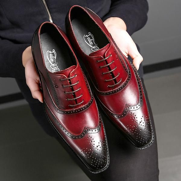 Classic Style <b>Cow Leather</b> Elegant <b>Brogue</b> Shoes Men Lace Up ...