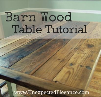 Barn wood Table Tutorial with step by step instructions. You can finish it with Tung Oil!