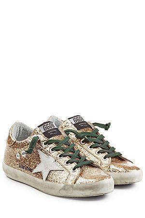 GOLDEN GOOSE Super Star Glitter Sneakers | STYLEBOP.com