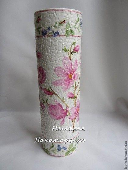 Вазы ручной работы. Ярмарка Мастеров - ручная работа Вазы ручной работы. Стеклянная ваза Цветущая магнолия. Handmade.