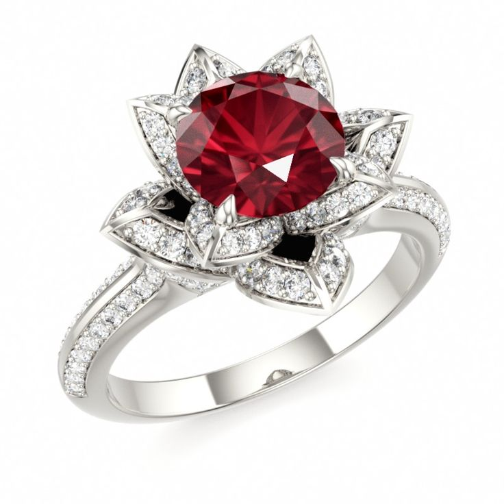 ruby lotus ring ruby engagement ring ruby romance With wedding rings with rubies