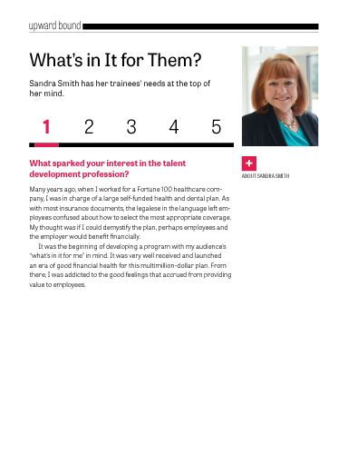 "I saw this in ""What's in It for Them?"" in TD magazine March 2015."