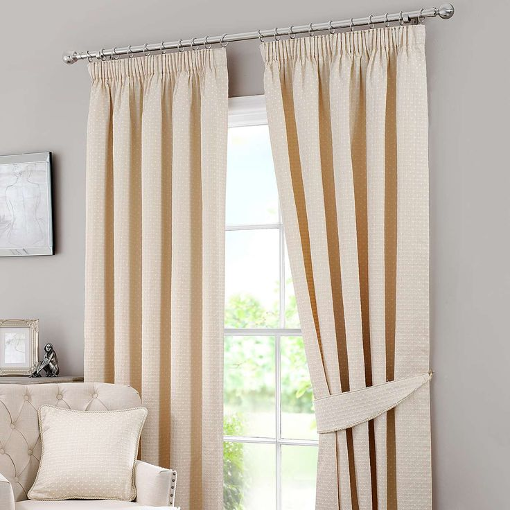 Omega Natural Lined Pencil Pleat Curtains | Dunelm