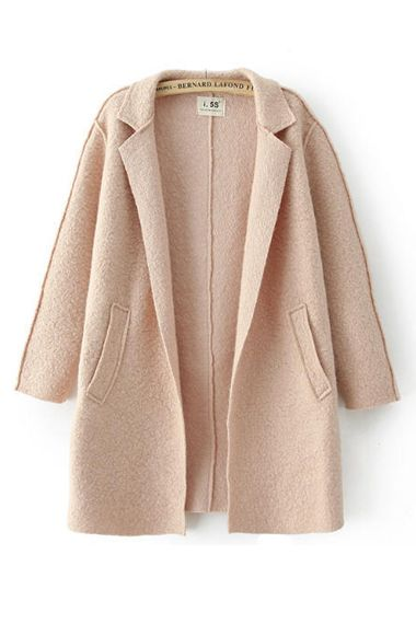Khaki Lapel Long Sleeves Long Wool Outerwear