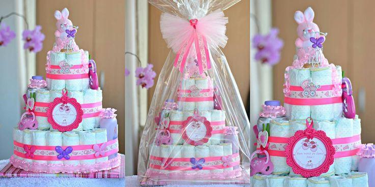 Diaper cake...Tort scutece pampers