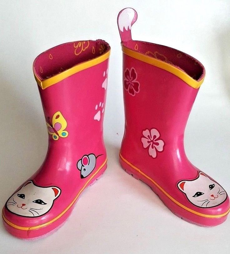 Kidorable Girls Rain Boots Pink Lucky Cat Size 10 Rubber Mouse Fish EUR 27 USA #Kidorable #RainBoots