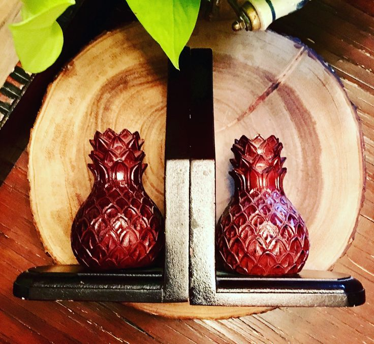 Pair of Vintage Pineapple Bookends / Carved Wood Bookends / Vintage Library by GabsAndLolaJewellery on Etsy https://www.etsy.com/ca/listing/537352120/pair-of-vintage-pineapple-bookends