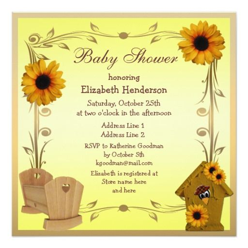 279 Best Sunflower Baby Shower Invitations Images On Pinterest