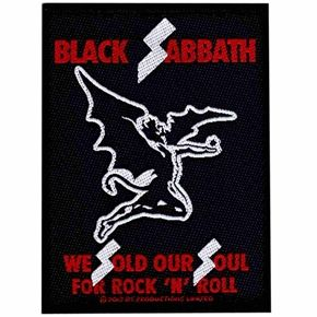 "Official licensed sew on Black Sabbath patch. Size measures 10cm (4"") x 7.5cm (3"") , perfect for your jackets, jeans, shirts, bags etc"
