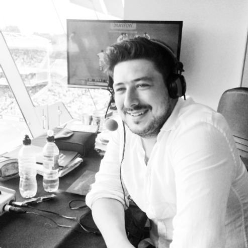 "thisisthesong-yeah-thewolf:  ""Someone came back to white shirts today !!!!! 😁😁😁  Marcus Mumford, BBC Cricket today.  """