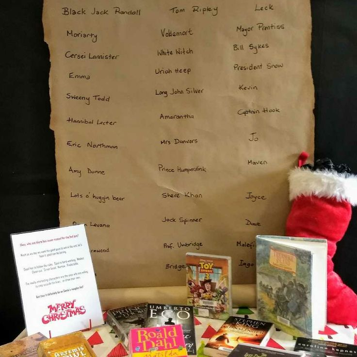 Christmas Library Display 2017 Naughty List Queanbeyan Library