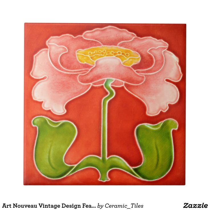 """Orange, Green, Pink and Yellow Flower Art Nouveau Vintage ceramic tiles reproduced in either 4.25"""" or 6"""" sizes, great for DIY Kitchens, Backsplashes, fireplace surrounds, and bathrooms, with lots of designs and colors available in my zazzle store."""