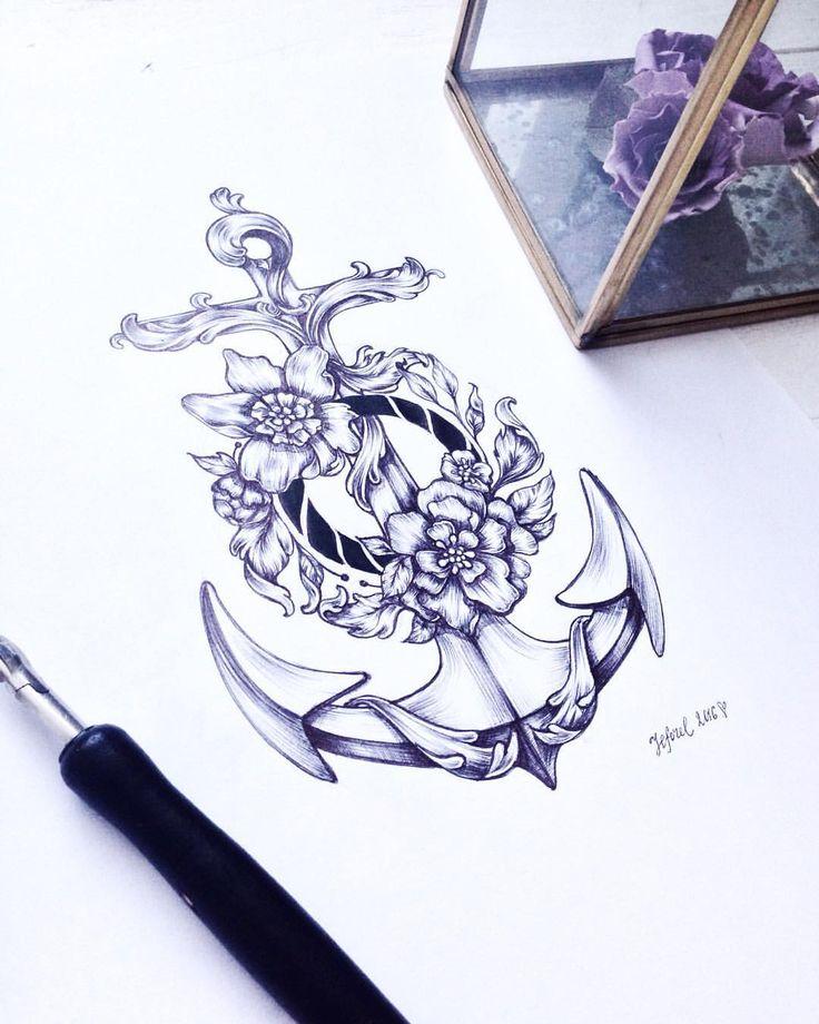 Zhenya Shubina в Instagram: «⚓️ #tattoo #anchor #flowers #sea #illustration…