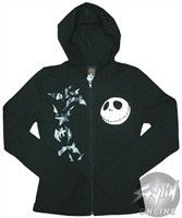 Nightmare Before Christmas Jack Bats Action Full Zipper Hooded Sweatshirt. Nightmare Before Christmas Action Hoodie Jack Skellington smiles at a bevy of gray bats on this black Nightmare Before Christmas hoodie. The Nightmare Before Christmas Action Hoodie has a full length zipper and two pockets and is inspired by the movie The Nightmare Before Christmas. This warm and comfortable hooded sweatshirt features an image of Skellington's face in white on one side of the front, and an image of…