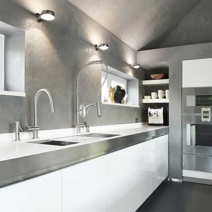 Beautiful Modern Kitchen With White Cabinets Stainless Steel Faucets - pictures, photos, images