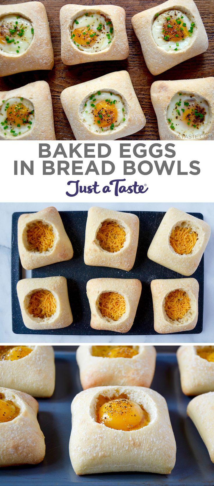 Baked Eggs in Bread Bowls recipe justataste.com #recipe #breakfast