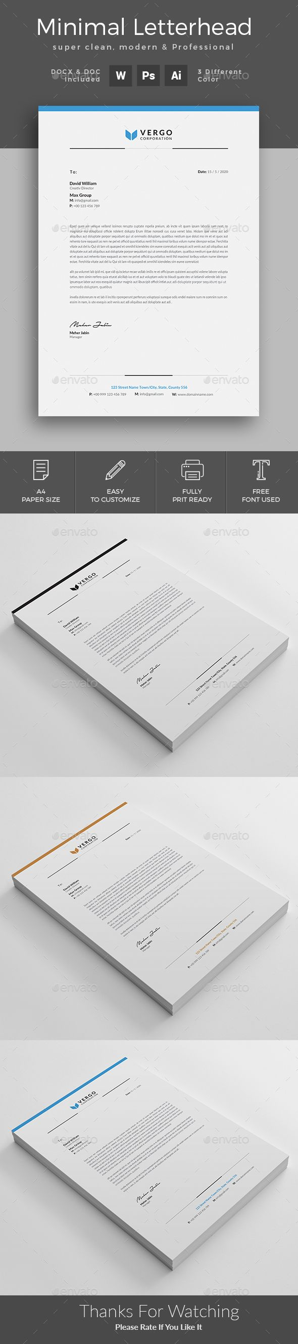 Letterhead - Stationery Print Templates Download here: https://graphicriver.net/item/letterhead/19972826?ref=classicdesignp