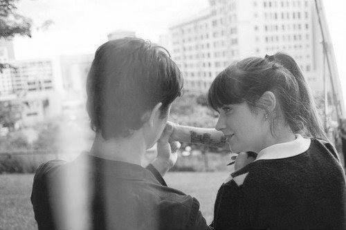500 Days of Summer  One of my favorite and least favorite movies ever. I love this picture. It just looks better because it's in black and white.
