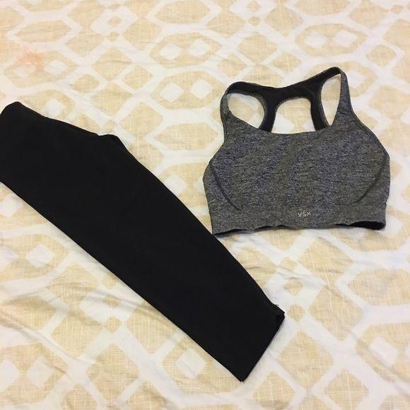 Black gym leggings Crop leggings fits to the knee Pants Leggings