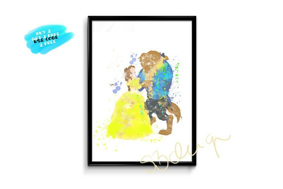 Beauty And The Beast Poster Beauty And The Beast Watercolor