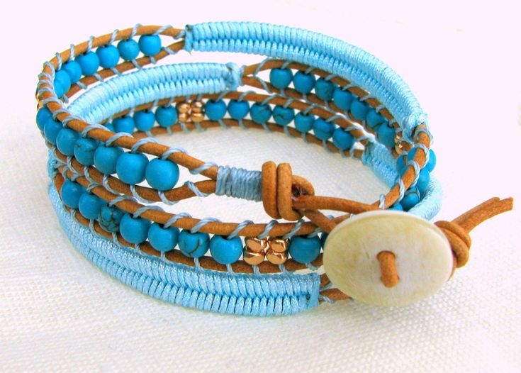 Beaded Leather Wrap Bracelet with Brown Leather, Turquoise Beads, Rose Gold Metal Beads and Macrame. $65.00, via Etsy.