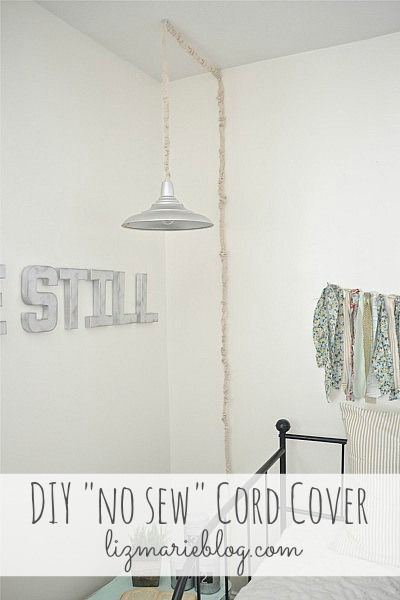 no sew cord covers cord craft and diy ideas. Black Bedroom Furniture Sets. Home Design Ideas