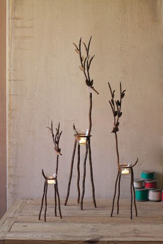 Kalalou Rustic Iron Reindeer With One Tealight - Set Of 3 - This Set of 3 beautiful Reindeer provide a unique, rustic way to display any small candles and light up any dinner table, or Christmas display. This trio looks great displayed together, or lighting up three separate areas!