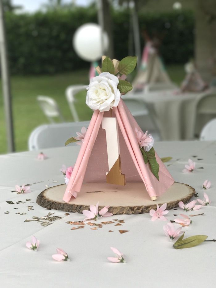 Teepee Table Centerpiece from a Vintage Boho Birthday Party on Kara's Party Ideas | KarasPartyIdeas.com (11)