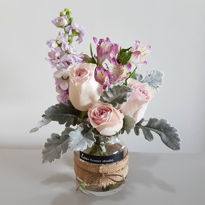 Petite posy in a jar - pink toses, matthiola, dusty miller and alstroemeria
