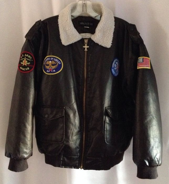 Oscar Kids Bomber Jacket Boys 2XL 14 16 18 Coat Patches Pilots Aviator Costume #OscarKids #BomberJacket #CostumeorPlayDressy