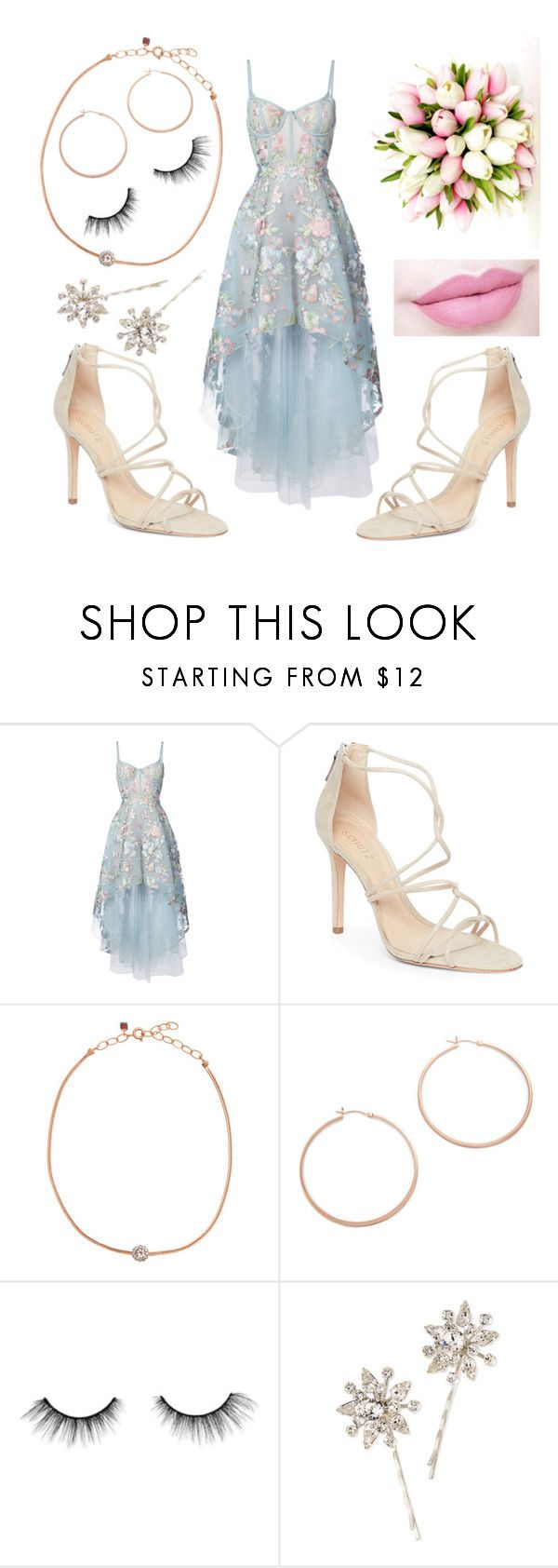 """""""Character"""" by shalagna ❤ liked on Polyvore featuring Notte by Marchesa, Schutz, Selim Mouzannar, Jennifer Zeuner, tarte, Anastasia Beverly Hills and Jennifer Behr"""