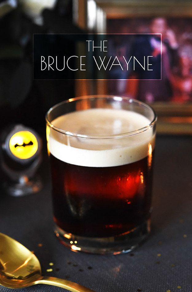 The Bruce Wayne  4½ oz. black iced coffee 2 oz bourbon ¼–½ oz. maple syrup (depending how sweet you like it)