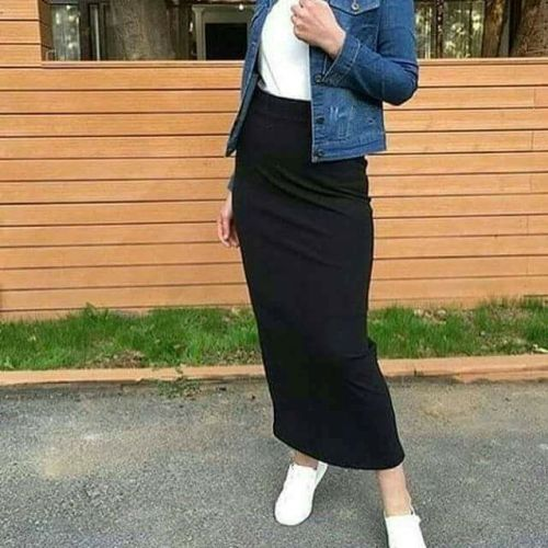 Pencil skirt with denim jacket hijab-Street fashion style – Just Trendy Girls