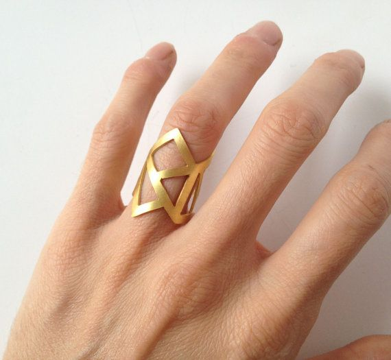 gold ring  24K gold plated bronze ring   by katerinaki1977 on Etsy, $40.00