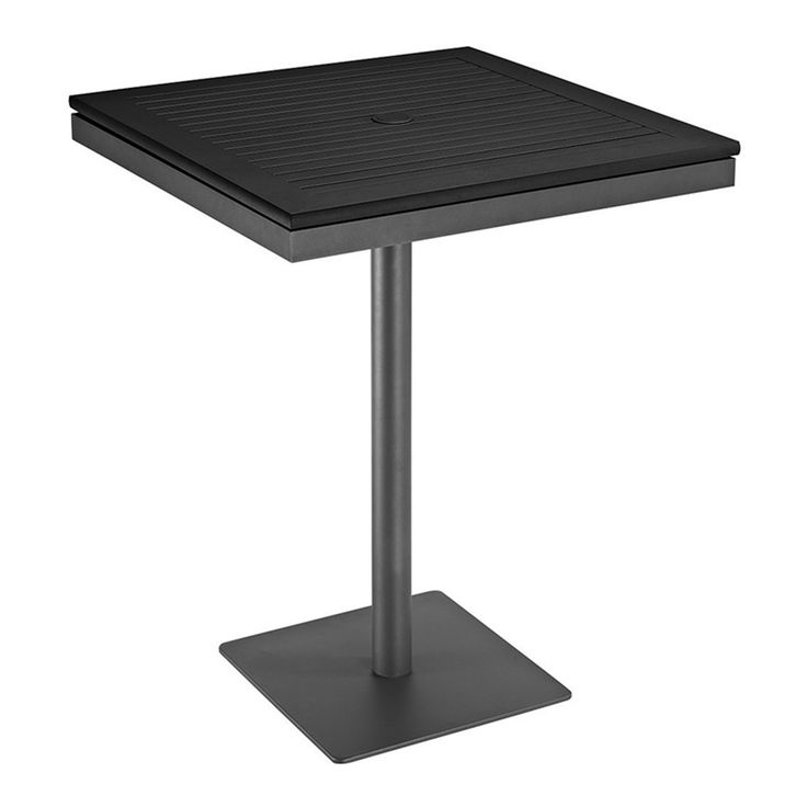 Azore Square Pedestal Bar Table w/Black Aluminum Slatted Top