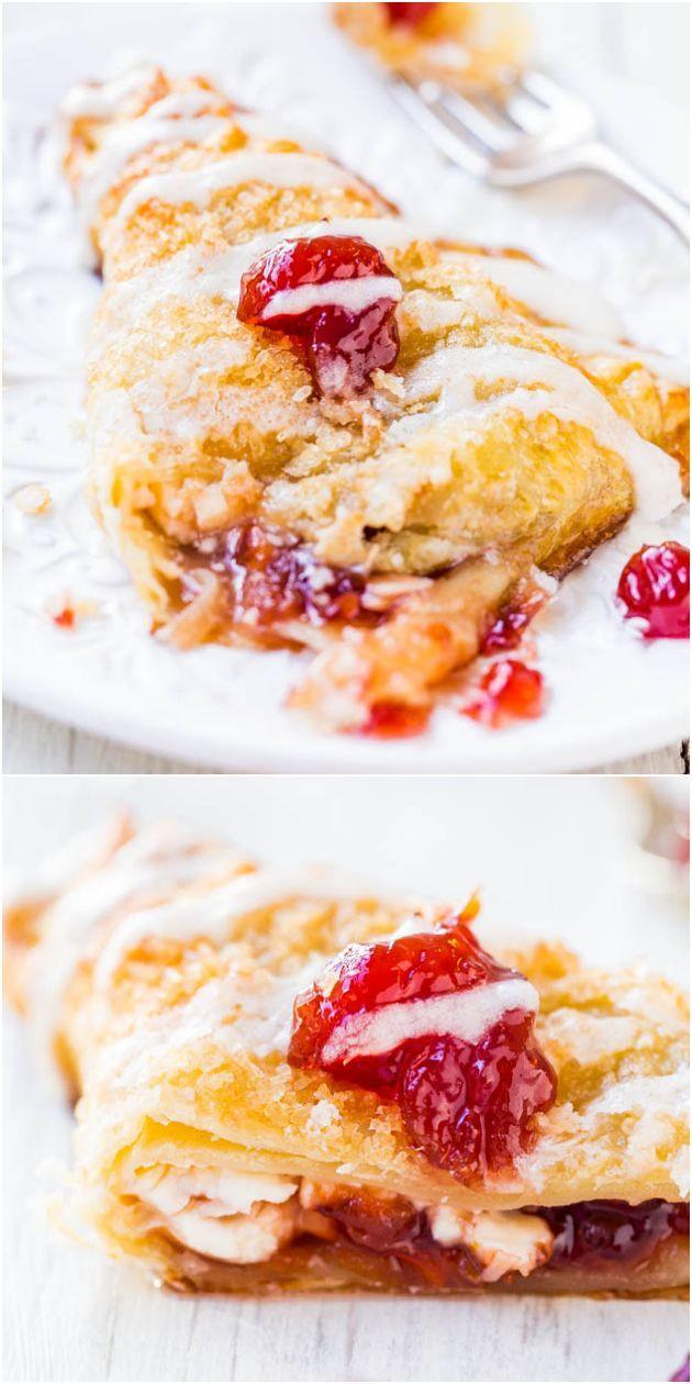 Cherry & Cream Cheese Turnovers w/ Vanilla Cream Cheese Glaze