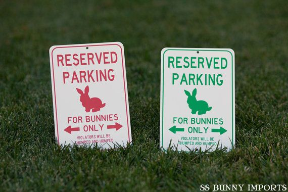 Has your rabbit claimed a corner of your residence as its own? Need to let all your visitors know that certain areas are lagomorph-only? If so, this sign is for you! Product is available in red or green.  To get this sign in green: https://www.etsy.com/listing/209297591/reserved-parking-for-bunnies-only  Product dimensions: 6 W x 9 L / 15.24 cm W x 22.86 cm L  RESERVED PARKING FOR BUNNIES ONLY VIOLATORS WILL BE THUMPED AND HUMPED  Custom sign preview: Hot pink…