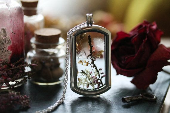 Dandelion seed locket dandelion wish necklace by RubyRobinBoutique