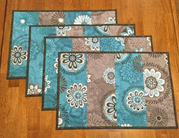 Teal And Gray Quilted Placemats Teal Place Mats Quilted Etsy Place Mats Quilted Mug Rug Quilting Crafts